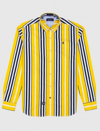 River Blue bright yellow stripe cotton shirt