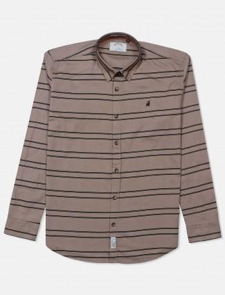 River Blue brown stripe slim fit shirt