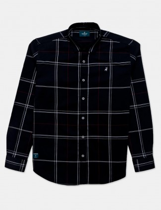 River Blue checks black cotton shirt