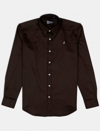 River Blue coffee brown solid mens shirt