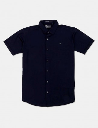 River Blue cotton navy solid casual shirt