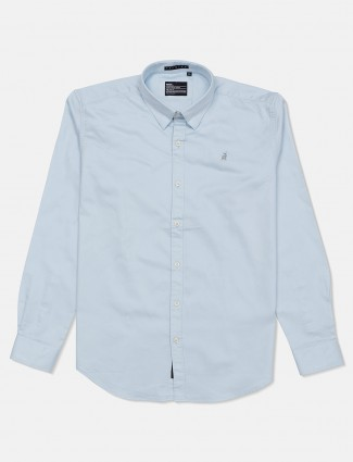 River Blue cotton sky blue solid casual shirt