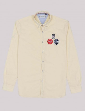 River Blue cream color solid slim fit shirt