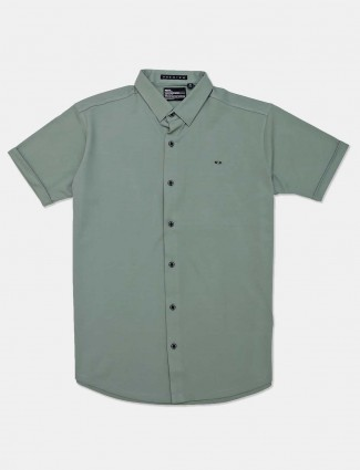 River Blue full sleeves green solid casual shirt