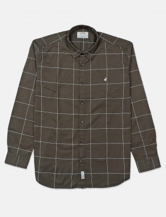 River Blue full sleeves olive checks shirt