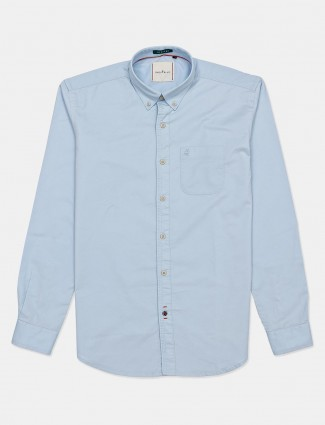 River Blue full sleeves sky blue solid casual shirt