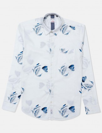 River Blue full sleeves white printed shirt