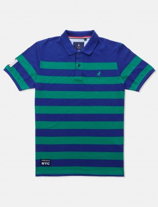 River Blue green and blue stripe t-shirt