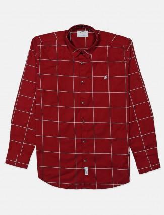 River Blue maron checks cotton shirt