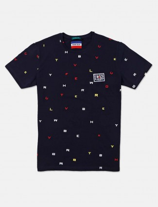 River Blue navy printed casual wear t-shirt
