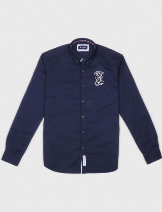 River Blue navy solid pattern shirt