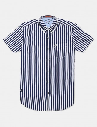 River Blue navy stripe casual shirt for men