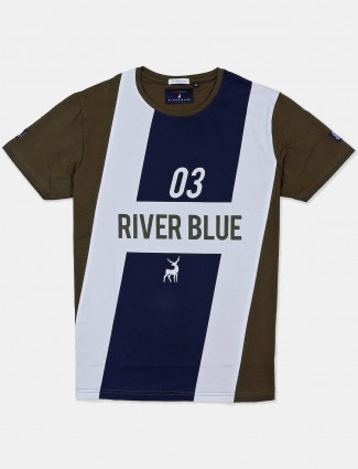 River Blue olive and navy printed t-shirt