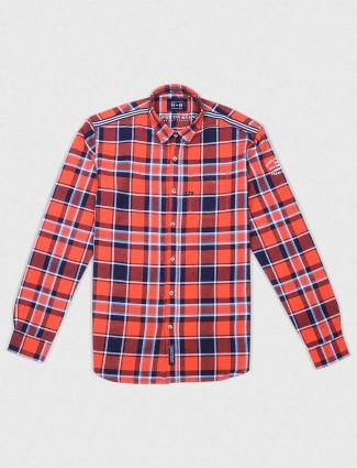River Blue orange checks slim fit shirt