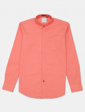 River Blue peach color solid shirt for mens