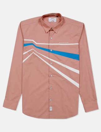 River blue peach stripe full buttoned placket shirt