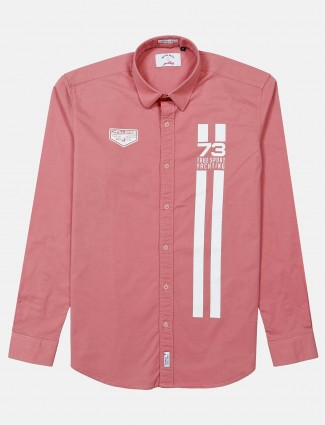 River Blue printed dusty pink shirt