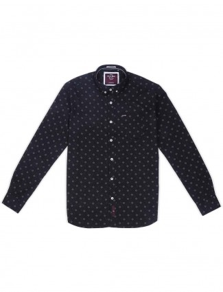 River Blue printed pattern black shirt