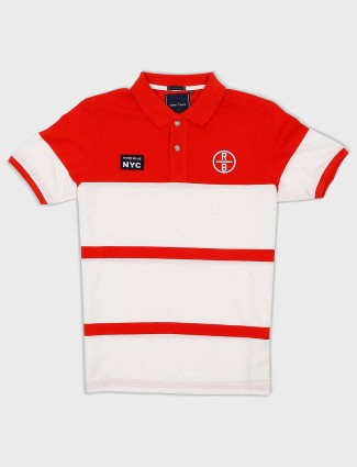 River Blue red and white stripe t-shirt
