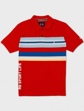 River Blue red hue stripe casual t-shirt