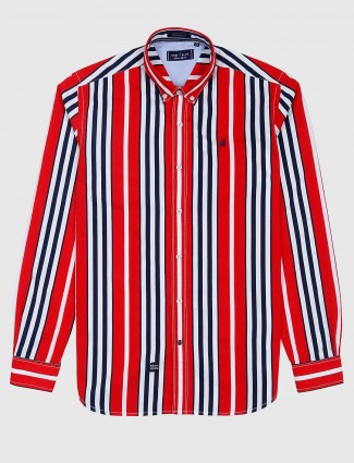 River Blue red stripe pattern cotton shirt