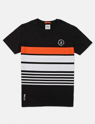 River Blue round neck stripe black t-shirt
