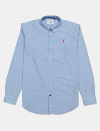 River Blue sky blue solid cotton mens shirt
