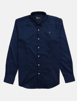 River Blue slim collar navy solid shirt