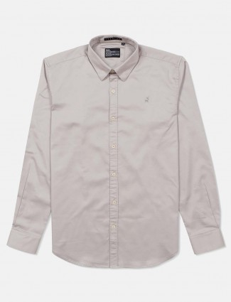 River Blue slim collar solid grey shirt