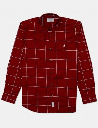 River Blue slim fit checks maroon shirt