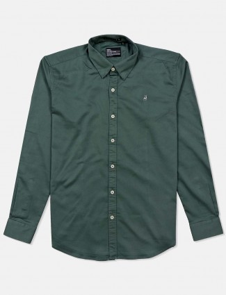 River Blue solid green cotton shirt