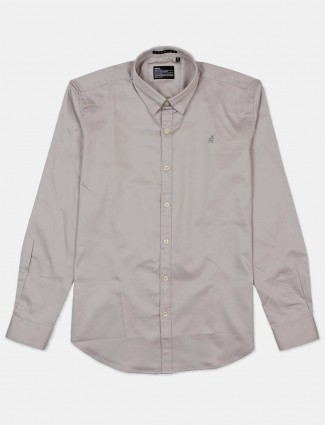River Blue solid grey mens shirt