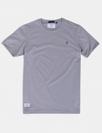 River Blue solid grey slim fit t-shirt