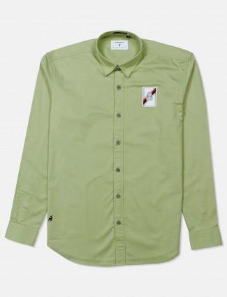 River Blue solid olive shirt