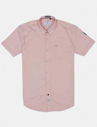 River Blue solid pink cotton shirt