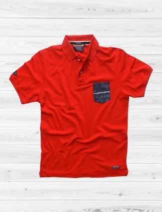 River Blue solid red t-shirt