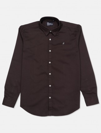 River Blue solid slim fit casual dark brown shirt