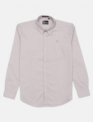 River Blue solid slim fit casual grey shirt