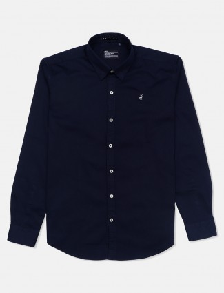 River Blue solid slim fit casual navy shirt