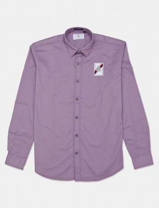 River Blue solid slim fit casual purple shirt