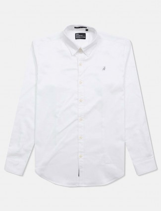 River blue solid white cotton shirt