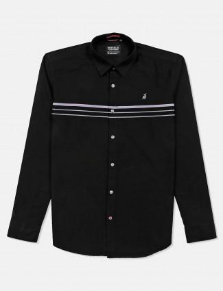 River blue stripe black casual slim collar shirt
