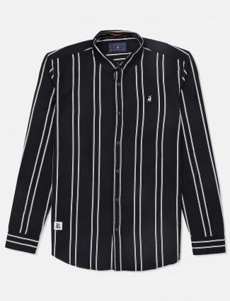 River Blue stripe black cotton shirt