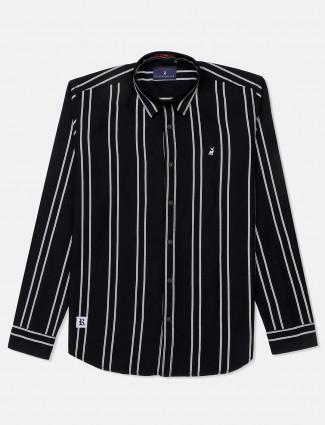 River Blue stripe black slim collar shirt