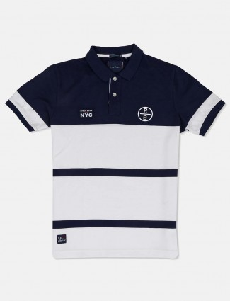 River Blue stripe navy and white t-shirt