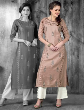 Rose pink cotton silk festive kurti