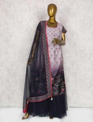 Rose pink cotton silk festive wear sharara suit