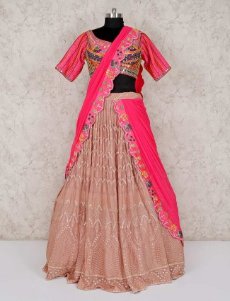 Rose pink georgette sweetheart neck lehenga choli