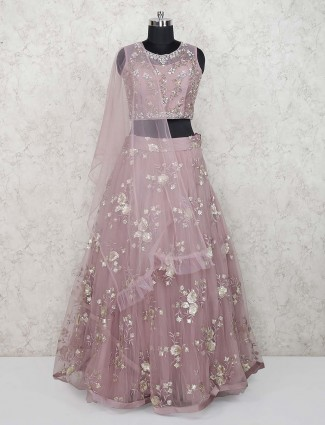 Rose pink party wear net fabric pretty lehenga choli