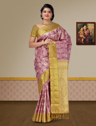 Rose pink pure silk fabric kanjivaram saree